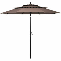 10ft 3 Tier Patio Umbrella Aluminum Sunshade Shelter Double Vented without Base-Tan - Color: Tan - Size: 10 ft x 8 ft