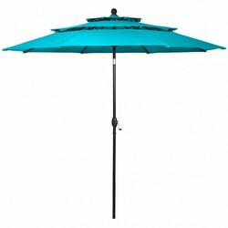 10' 3 Tier Patio Umbrella Aluminum Sunshade Shelter Double Vented without Base-Turquoise - Color: Turquoise - Size: 10 ft x 8 ft