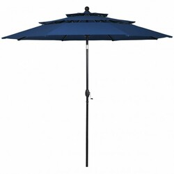 10' 3 Tier Patio Umbrella Aluminum Sunshade Shelter Double Vented without Base-Navy - Color: Navy - Size: 10 ft x 8 ft