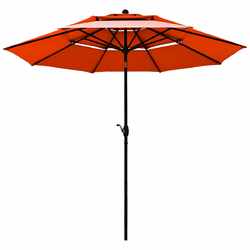 10ft 3 Tier Patio Umbrella Aluminum Sunshade Shelter Double Vented without Base-Red - Color: Orange