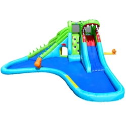 Category: Dropship Inflatable Bouncers, SKU #OP70028, Title: Crocodile Inflatable Water Slide Climbing Wall Bounce House
