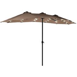 15 Ft Patio LED Crank Solar Powered 36 Lights  Umbrella without Weight Base-Tan - Color: Tan