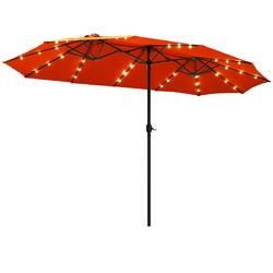 15 Ft Patio LED Crank Solar Powered 36 Lights  Umbrella without Weight Base-Orange - Color: Orange