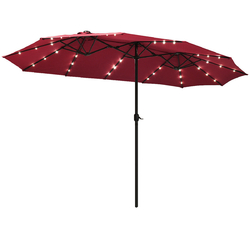 15 Ft Patio LED Crank Solar Powered 36 Lights  Umbrella without Weight Base-Burgundy - Color: Burgundy