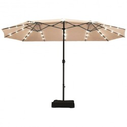 15 Ft Solar LED Patio Double-sided Umbrella Market Umbrella without Weight Base-Beige - Color: Beige