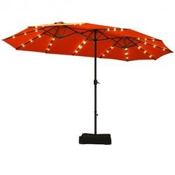 15 Ft Solar LED Patio Double-sided Umbrella Market Umbrella with Weight Base-Orange - Color: Orange