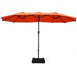 Category: Dropship Accessories, SKU #OP70097OR, Title: 15 Ft Patio Umbrella Outdoor Umbrella with Crank and Base-Orange - Color: Orange - Size: 28.5