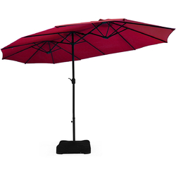 Category: Dropship Accessories, SKU #OP70097WN, Title: 15 Ft Patio Umbrella Outdoor Umbrella with Crank and Base-Burgundy - Color: Burgundy - Size: 28.5