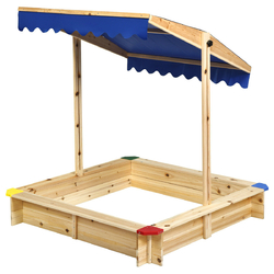 Kids Cedar Square Cabana Wooden Sandbox with Convertible Canopy