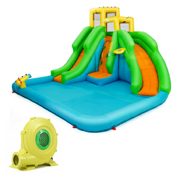 Category: Dropship Inflatable Bouncers, SKU #OP70146, Title: Kids Inflatable Water Park Bounce House with 480 W Blower