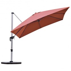 Category: Dropship Accessories, SKU #OP70233OR, Title: 10 ft 360 Degree Tilt Aluminum Square Patio Offset Cantilever Umbrella without Weight Base - Color: Brick Red