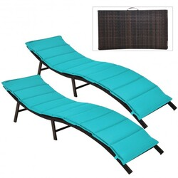 2Pcs Folding Patio Lounger Chair-Turquoise - Color: Turquoise