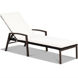 Patio Rattan Lounge Chaise Recliner with Back Adjustable Cushioned - Color: White