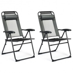 2 PCS Patio Adjustable Folding Recliner Chairs-Gray - Color: Gray