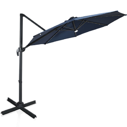 10 Ft Patio Offset Cantilever Umbrella with Solar Lights-Navy - Color: Navy