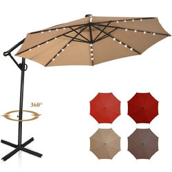 10 ft 360° Rotation Solar Powered LED Patio Offset Umbrella without Weight Base-Beige - Color: Beige