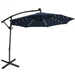 10 ft 360° Rotation Solar Powered LED Patio Offset Umbrella without Weight Base-Navy - Color: Navy