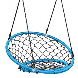 Net Hanging Swing Chair with Adjustable Hanging Ropes-Blue - Color: Blue