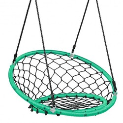 Net Hanging Swing Chair with Adjustable Hanging Ropes-Green - Color: Green