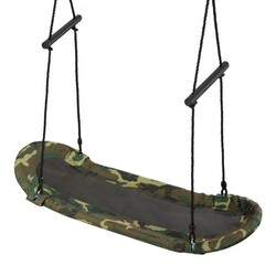 Saucer Tree Swing Surf Kids Outdoor Adjustable Swing Set - Color: Army Green