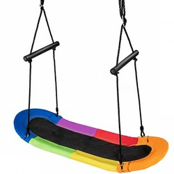 Saucer Tree Swing Surf Kids Outdoor Adjustable Oval Platform Set with Handle-Color - Color: Multicolor