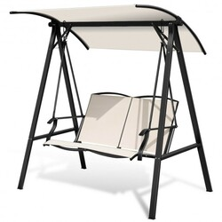 Outdoor Porch Steel Hanging 2-Seat Swing Loveseat with Canopy-Beige - Color: Beige