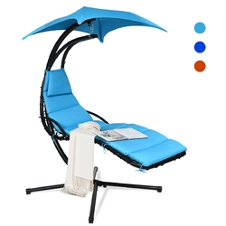 Hanging Stand Chaise Lounger Swing Chair with Pillow-Blue - Color: Blue