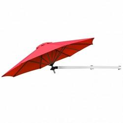 Category: Dropship Accessories, SKU #OP70378BUG+, Title: 8ft Wall-Mounted Telescopic Folding Tilt Aluminum Sun Shade Umbrella-Burgundy