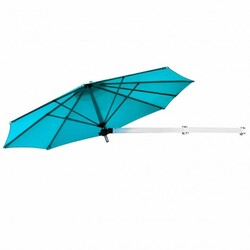 Category: Dropship Accessories, SKU #OP70378NY+, Title: 8ft Wall-Mounted Telescopic Folding Tilt Aluminum Sun Shade Umbrella-Blue