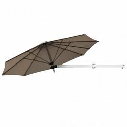 Category: Dropship Accessories, SKU #OP70378TN+, Title: 8ft Wall-Mounted Telescopic Folding Tilt Aluminum Sun Shade Umbrella-Tan