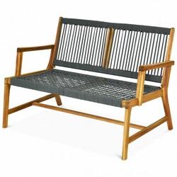 2-Person Patio Acacia Wood Yard Bench-Gray - Color: Gray