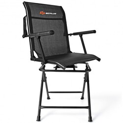 Swivel Hunting Chair Foldable Mesh Chair with Armrests-Black - Color: Black
