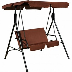 Loveseat Cushioned Patio Steel Frame Swing Glider-Coffee - Color: Coffee