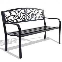 """50"""" Patio Park Steel Frame Cast Iron Backrest Bench Porch Chair - Color: Black"""