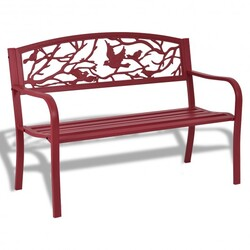Patio Garden Bench Park Yard Outdoor Furniture - Color: Red