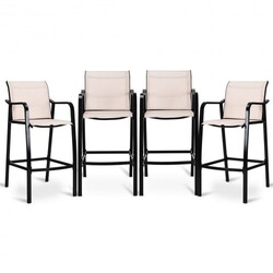 4 pcs Patio Counter Height Steel Frame Leisure Bar Chairs - Color: Beige
