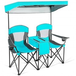 Portable Folding Camping Canopy Chairs w/ Cup Holder-Turquoise - Color: Turquoise