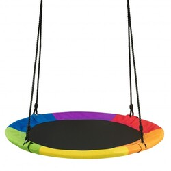 "40"" 770 lbs Flying Saucer Tree Swing Kids Gift with 2 Tree Hanging Straps-Multicolor - Color: Multicolor"
