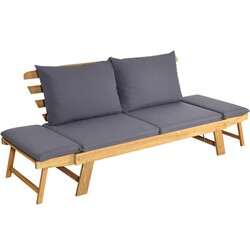 Patio Convertible daybed Solid Wood Sofa with Cushion