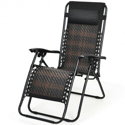 Folding Patio Rattan Zero Gravity Lounge Chair Recliner-Brown - Color: Brown