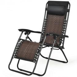 Folding Patio Rattan Zero Gravity Lounge Chair Recliner-Coffee - Color: Coffee