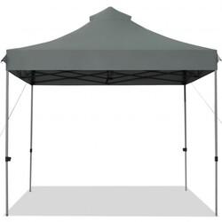 10' x 10' Portable Pop Up Canopy Event Party Tent Adjustable with Roller Bag-Gray - Color: Gray