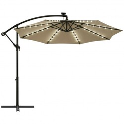 10 Ft Patio Solar LED Offset Umbrella with 40 Lights and Cross Base-Tan - Color: Tan