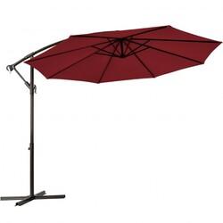 10 Ft Patio Offset Hanging Umbrella with Easy Tilt Adjustment-Burgundy - Color: Burgundy