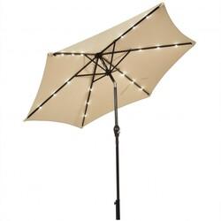 9' Solar LED Lighted Patio Market Umbrella Tilt Adjustment Crank Lift -Beige - Color: Beige