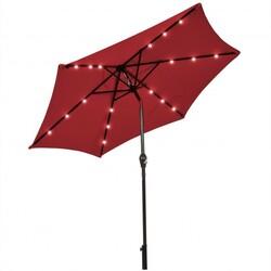 9' Solar LED Lighted Patio Market Umbrella Tilt Adjustment Crank Lift -Burgundy - Color: Burgundy