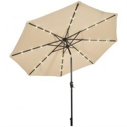 10' Solar LED Lighted Patio Market Umbrella Shade Tilt Adjustment Crank-Beige - Color: Beige