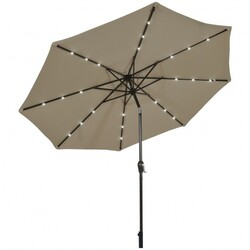 10' Solar LED Lighted Patio Market Umbrella Shade Tilt Adjustment Crank-Tan - Color: Tan