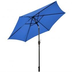 9 ft Outdoor Market Patio Table Umbrella Push Button Tilt Crank Lift-Blue - Color: Blue