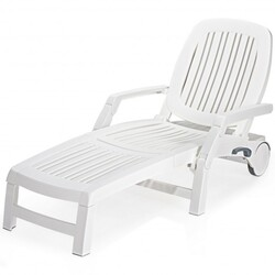 Adjustable Patio Sun Lounger with Weather Resistant Wheels-White - Color: White